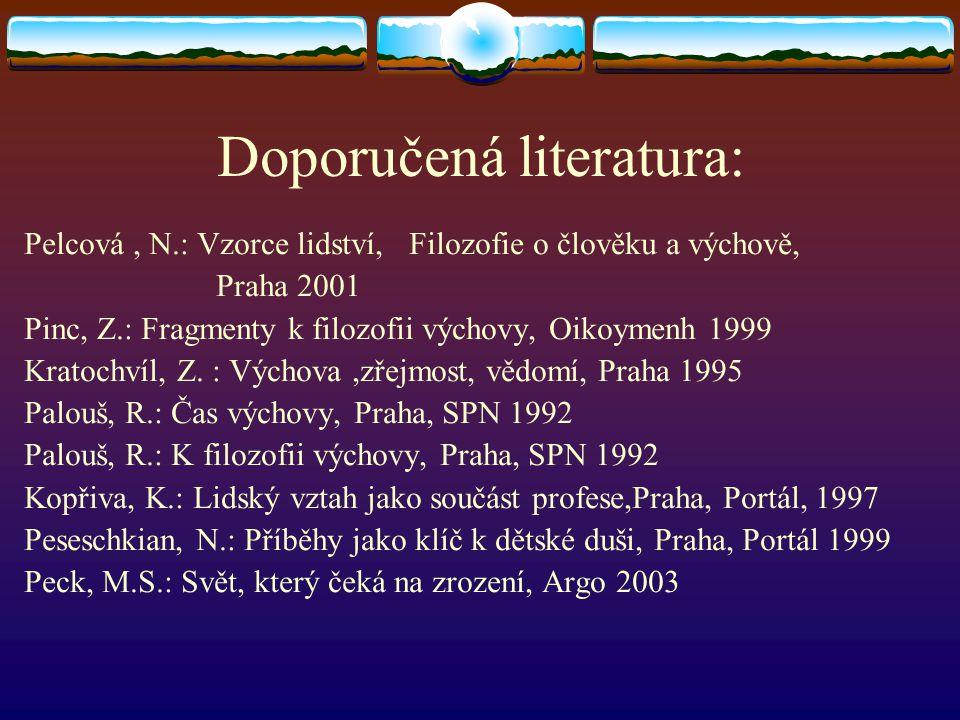 Doporučená literatura: Pelcová, N.: Vzorce lidství, Filozofie o člověku a výchově, Praha 2001 Pinc, Z.: Fragmenty k filozofii výchovy, Oikoymenh 1999