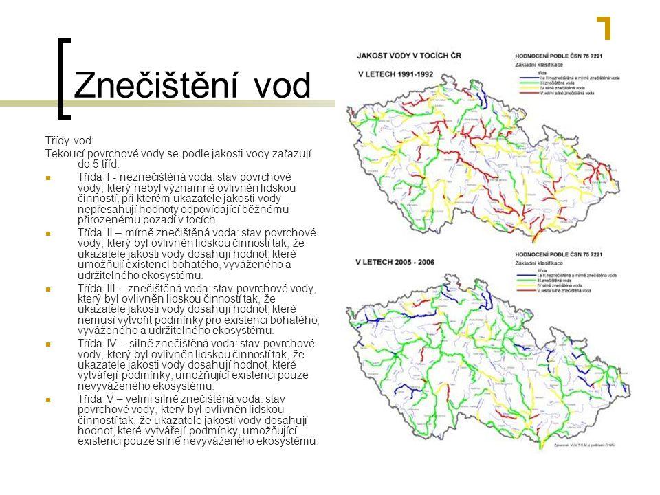 Znečištění vody Znečištěny jsou vodní plochy a toky a tím se zhoršuje kvalita vodních ekosystémů - např.