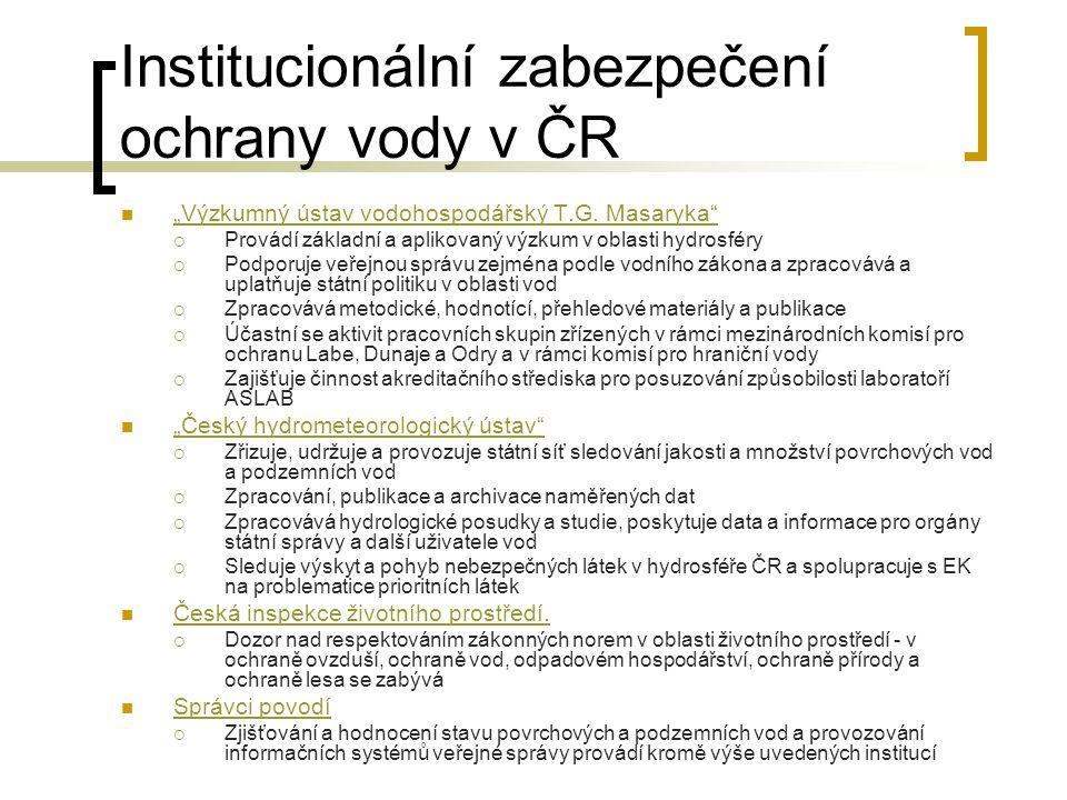 Institucionální zabezpečení ochrany vody v ČR Ministerstvo zemědělství - je podle zákona č. 2/1969 Sb. ústředním orgánem státní správy pro vodní hospo