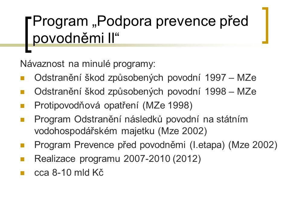 ČR - Fond pro realizaci protipovodňových opatření Fond byl původně diskutován jako typ mimorozpočtového státního (účelového) fondu původní návrh cca 15 mld.