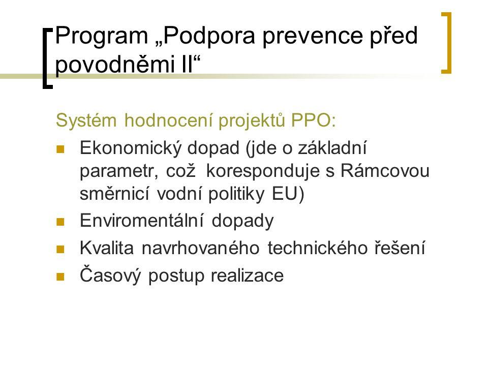 """Program """"Podpora prevence před povodněmi II Návaznost na minulé programy: Odstranění škod způsobených povodní 1997 – MZe Odstranění škod způsobených povodní 1998 – MZe Protipovodňová opatření (MZe 1998) Program Odstranění následků povodní na státním vodohospodářském majetku (Mze 2002) Program Prevence před povodněmi (I.etapa) (Mze 2002) Realizace programu 2007-2010 (2012) cca 8-10 mld Kč"""