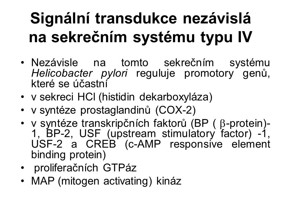 Signální transdukce nezávislá na sekrečním systému typu IV Nezávisle na tomto sekrečním systému Helicobacter pylori reguluje promotory genů, které se účastní v sekreci HCl (histidin dekarboxyláza) v syntéze prostaglandinů (COX-2) v syntéze transkripčních faktorů (BP (  -protein)- 1, BP-2, USF (upstream stimulatory factor) -1, USF-2 a CREB (c-AMP responsive element binding protein) proliferačních GTPáz MAP (mitogen activating) kináz