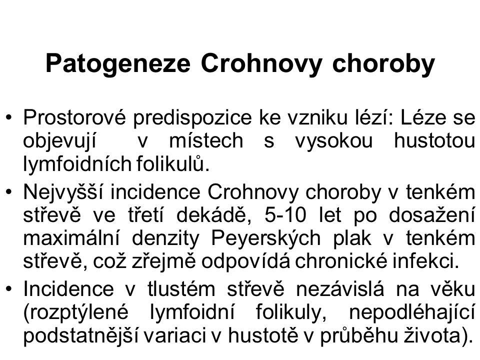 Patogeneze Crohnovy choroby Prostorové predispozice ke vzniku lézí: Léze se objevují v místech s vysokou hustotou lymfoidních folikulů.