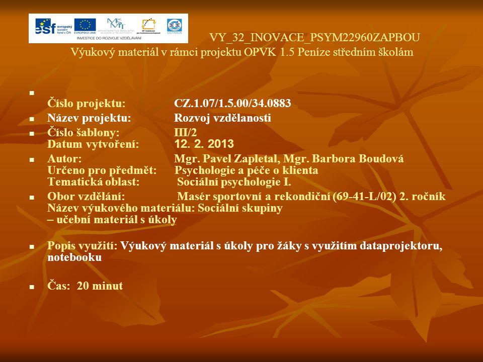 VY_32_INOVACE_PSYM22960ZAPBOU Výukový materiál v rámci projektu OPVK 1.5 Peníze středním školám Číslo projektu:CZ.1.07/1.5.00/34.0883 Název projektu:R