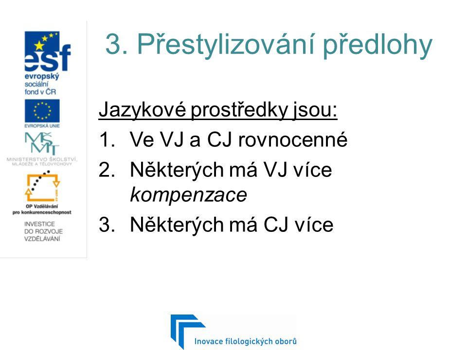 3. Přestylizování předlohy Jazykové prostředky jsou: 1.Ve VJ a CJ rovnocenné 2.Některých má VJ více kompenzace 3.Některých má CJ více