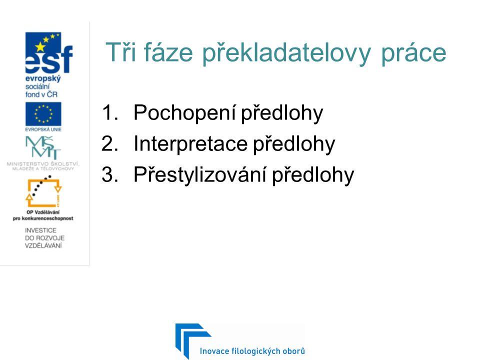 Tři fáze překladatelovy práce 1.Pochopení předlohy 2.Interpretace předlohy 3.Přestylizování předlohy