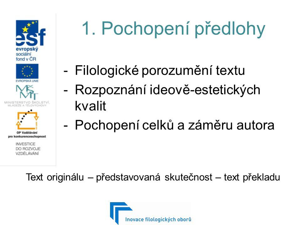 1. Pochopení předlohy -Filologické porozumění textu -Rozpoznání ideově-estetických kvalit -Pochopení celků a záměru autora Text originálu – představov