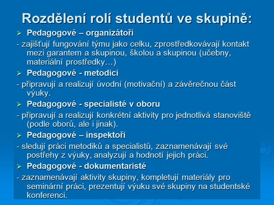 Rozdělení rolí studentů ve skupině:  Pedagogové – organizátoři - zajišťují fungování týmu jako celku, zprostředkovávají kontakt mezi garantem a skupi
