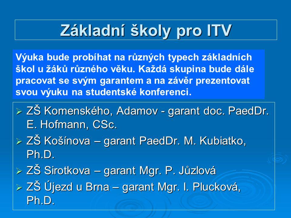 Základní školy pro ITV  ZŠ Komenského, Adamov - garant doc. PaedDr. E. Hofmann, CSc.  ZŠ Košínova – garant PaedDr. M. Kubiatko, Ph.D.  ZŠ Sirotkova