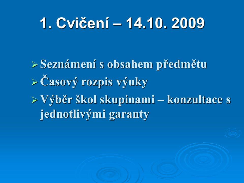 1. Cvičení – 14.10. 2009  Seznámení s obsahem předmětu  Časový rozpis výuky  Výběr škol skupinami – konzultace s jednotlivými garanty