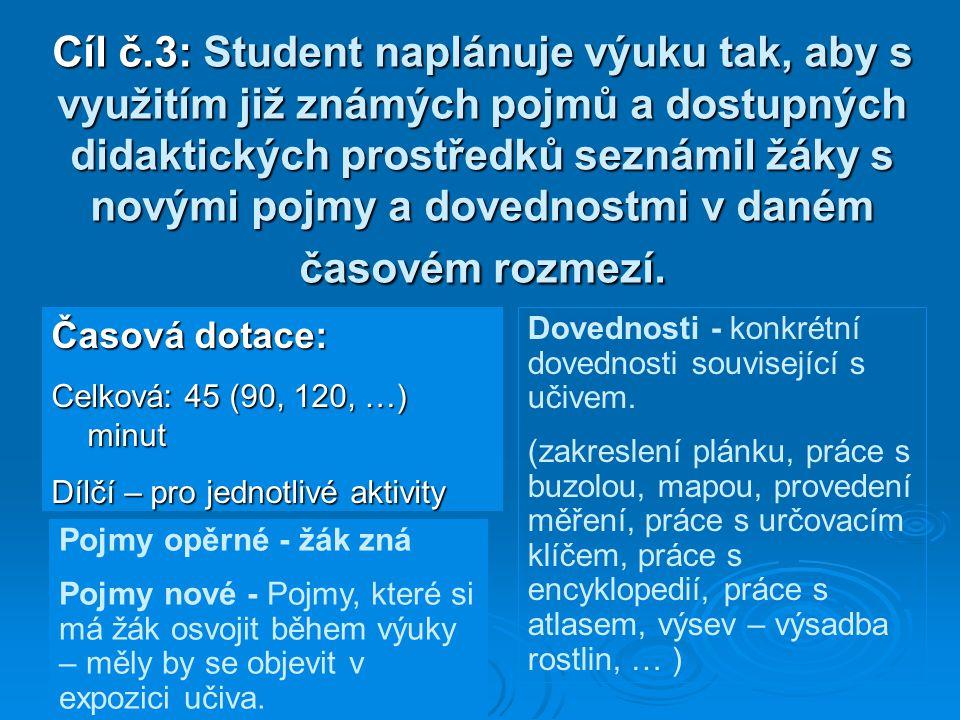 Cíl č.3: Student naplánuje výuku tak, aby s využitím již známých pojmů a dostupných didaktických prostředků seznámil žáky s novými pojmy a dovednostmi