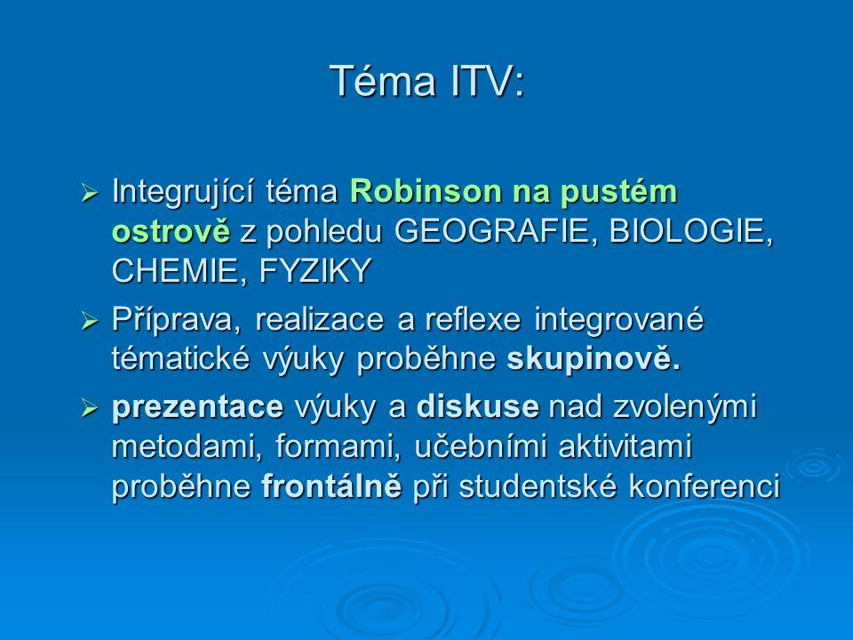 Téma ITV:  Integrující téma Robinson na pustém ostrově z pohledu GEOGRAFIE, BIOLOGIE, CHEMIE, FYZIKY  Příprava, realizace a reflexe integrované téma