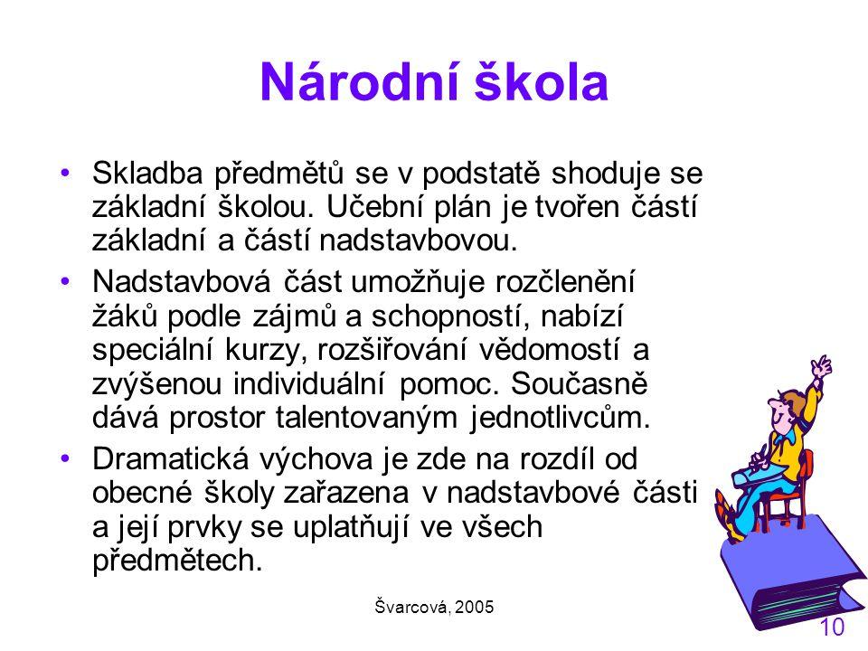 Švarcová, 2005 10 Národní škola Skladba předmětů se v podstatě shoduje se základní školou.