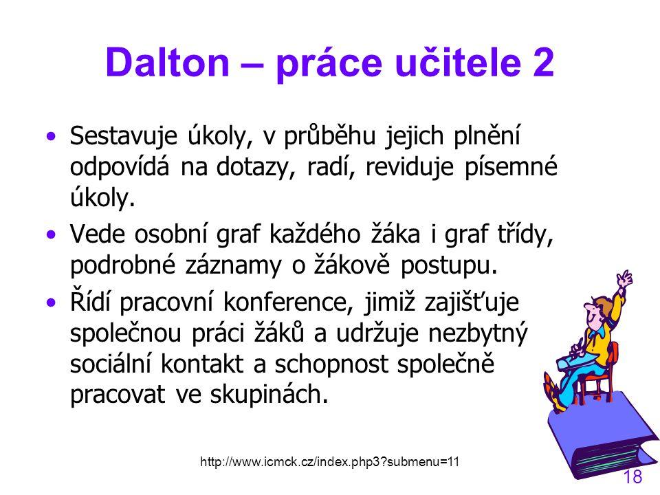 http://www.icmck.cz/index.php3?submenu=11 18 Dalton – práce učitele 2 Sestavuje úkoly, v průběhu jejich plnění odpovídá na dotazy, radí, reviduje písemné úkoly.