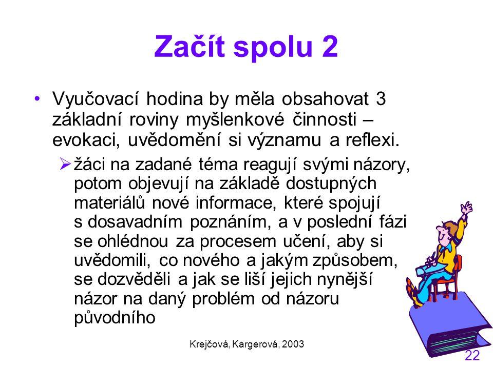Krejčová, Kargerová, 2003 22 Začít spolu 2 Vyučovací hodina by měla obsahovat 3 základní roviny myšlenkové činnosti – evokaci, uvědomění si významu a reflexi.