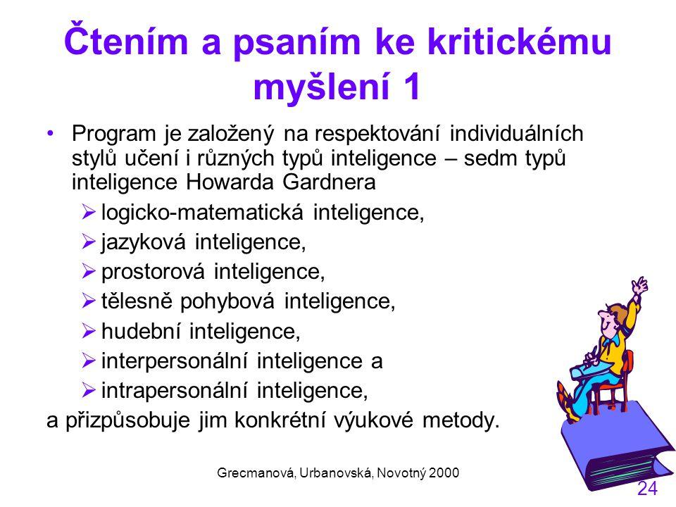 Grecmanová, Urbanovská, Novotný 2000 24 Čtením a psaním ke kritickému myšlení 1 Program je založený na respektování individuálních stylů učení i různých typů inteligence – sedm typů inteligence Howarda Gardnera  logicko-matematická inteligence,  jazyková inteligence,  prostorová inteligence,  tělesně pohybová inteligence,  hudební inteligence,  interpersonální inteligence a  intrapersonální inteligence, a přizpůsobuje jim konkrétní výukové metody.