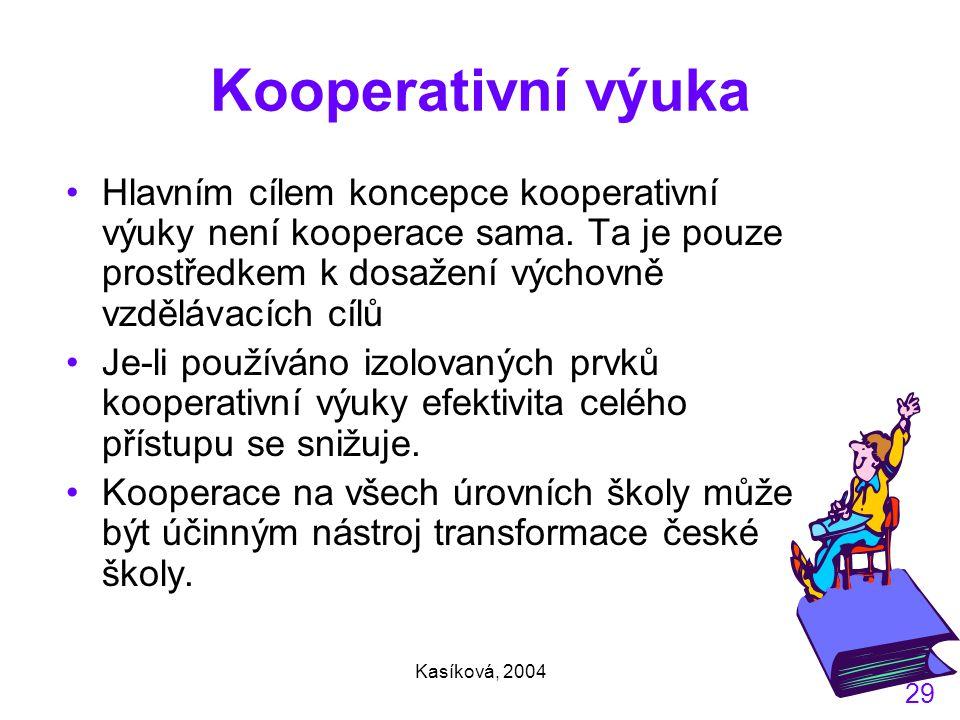 Kasíková, 2004 29 Kooperativní výuka Hlavním cílem koncepce kooperativní výuky není kooperace sama.