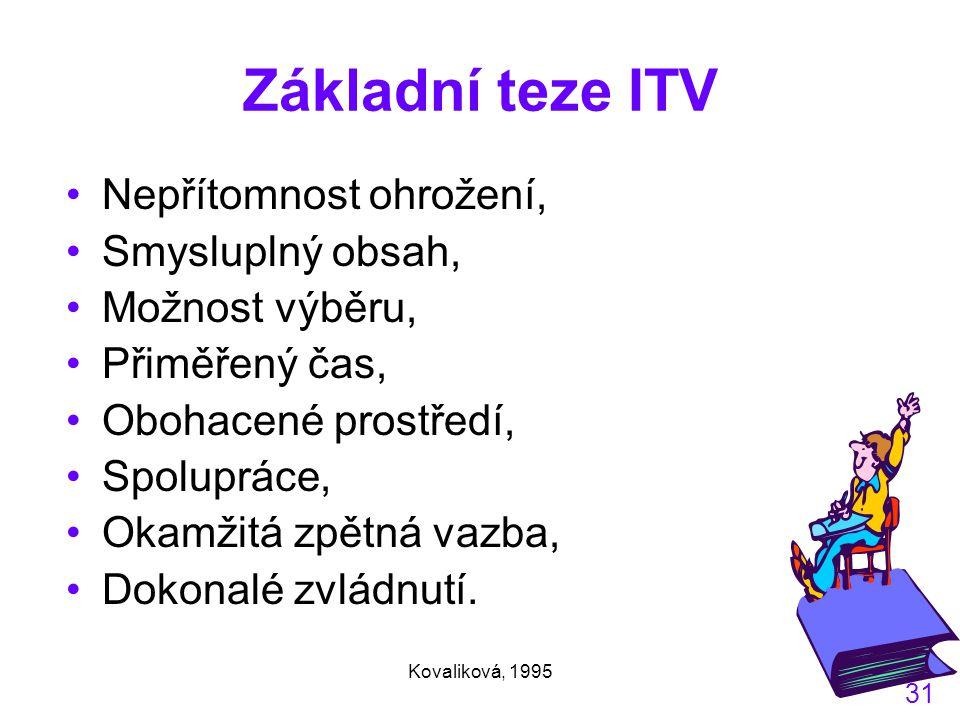 Kovaliková, 1995 31 Základní teze ITV Nepřítomnost ohrožení, Smysluplný obsah, Možnost výběru, Přiměřený čas, Obohacené prostředí, Spolupráce, Okamžitá zpětná vazba, Dokonalé zvládnutí.