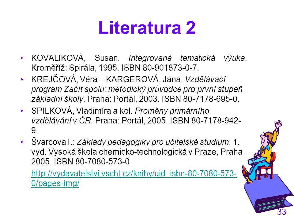 33 Literatura 2 KOVALIKOVÁ, Susan.Integrovaná tematická výuka.