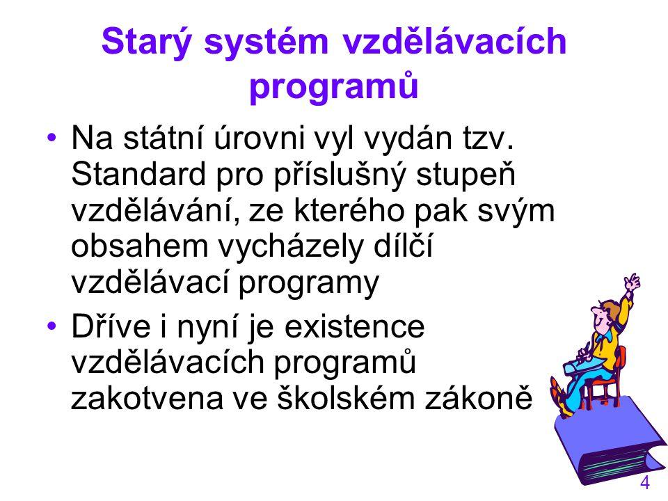 4 Starý systém vzdělávacích programů Na státní úrovni vyl vydán tzv.
