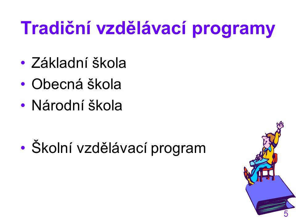 5 Tradiční vzdělávací programy Základní škola Obecná škola Národní škola Školní vzdělávací program