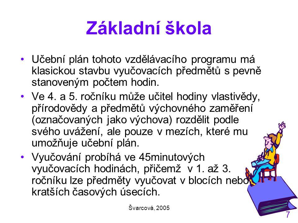 Švarcová, 2005 7 Základní škola Učební plán tohoto vzdělávacího programu má klasickou stavbu vyučovacích předmětů s pevně stanoveným počtem hodin.