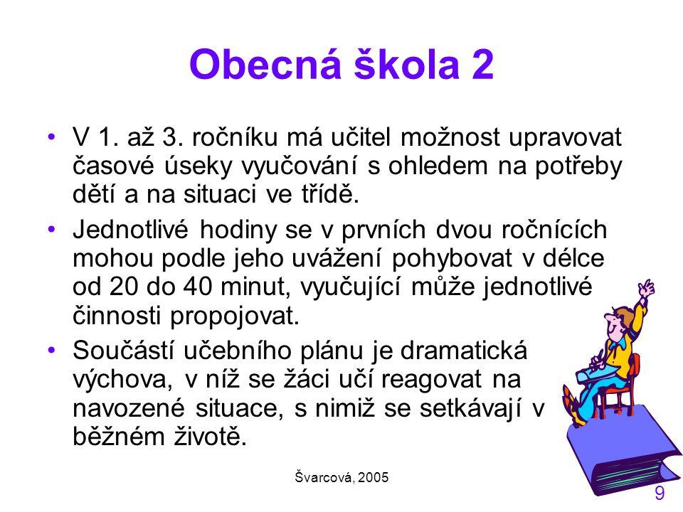Švarcová, 2005 9 Obecná škola 2 V 1.až 3.
