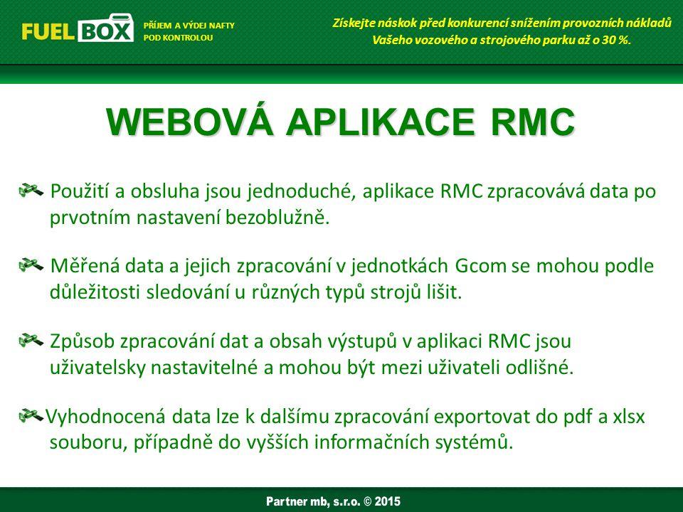 WEBOVÁ APLIKACE RMC Použití a obsluha jsou jednoduché, aplikace RMC zpracovává data po prvotním nastavení bezoblužně.