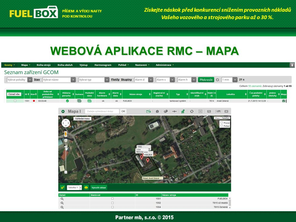 WEBOVÁ APLIKACE RMC – MAPA Získejte náskok před konkurencí snížením provozních nákladů Vašeho vozového a strojového parku až o 30 %.