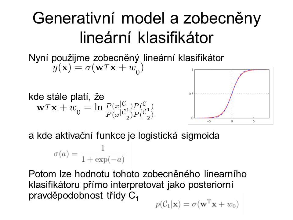 Generativní model a zobecněny lineární klasifikátor Nyní použijme zobecněný lineární klasifikátor kde stále platí, že a kde aktivační funkce je logistická sigmoida Potom lze hodnotu tohoto zobecněného linearního klasifikátoru přímo interpretovat jako posteriorní pravděpodobnost třídy C 1 w T x + w 0 = l n P ( x j C 1 ) P ( C 1 ) P ( x j C 2 ) P ( C 2 ) y ( x ) = ¾ ( w T x + w 0 )
