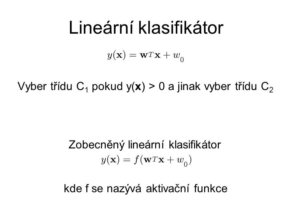Lineární klasifikátor Vyber třídu C 1 pokud y(x) > 0 a jinak vyber třídu C 2 y ( x ) = w T x + w 0 y ( x ) = f ( w T x + w 0 ) Zobecněný lineární klasifikátor kde f se nazývá aktivační funkce
