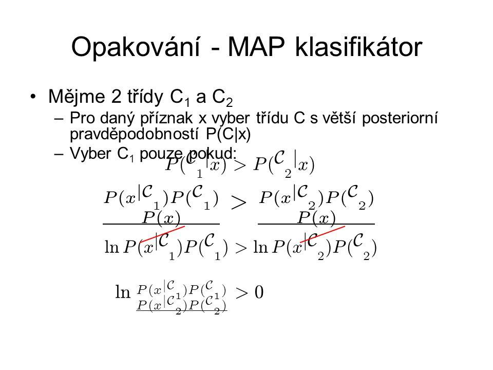 Opakování - MAP klasifikátor Mějme 2 třídy C 1 a C 2 –Pro daný příznak x vyber třídu C s větší posteriorní pravděpodobností P(C|x) –Vyber C 1 pouze pokud: l n P ( x j C 1 ) P ( C 1 ) > l n P ( x j C 2 ) P ( C 2 ) P ( x j C 1 ) P ( C 1 ) P ( x ) > P ( x j C 2 ) P ( C 2 ) P ( x ) P ( C 1 j x ) > P ( C 2 j x ) l n P ( x j C 1 ) P ( C 1 ) P ( x j C 2 ) P ( C 2 ) > 0