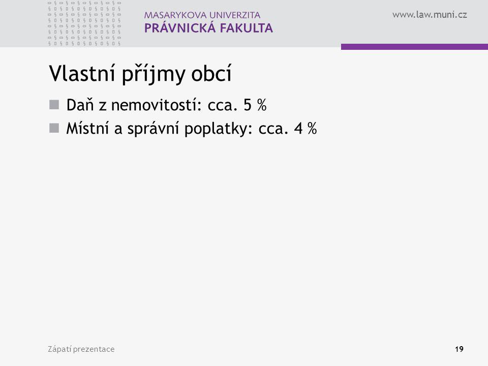 www.law.muni.cz Zápatí prezentace19 Vlastní příjmy obcí Daň z nemovitostí: cca. 5 % Místní a správní poplatky: cca. 4 %