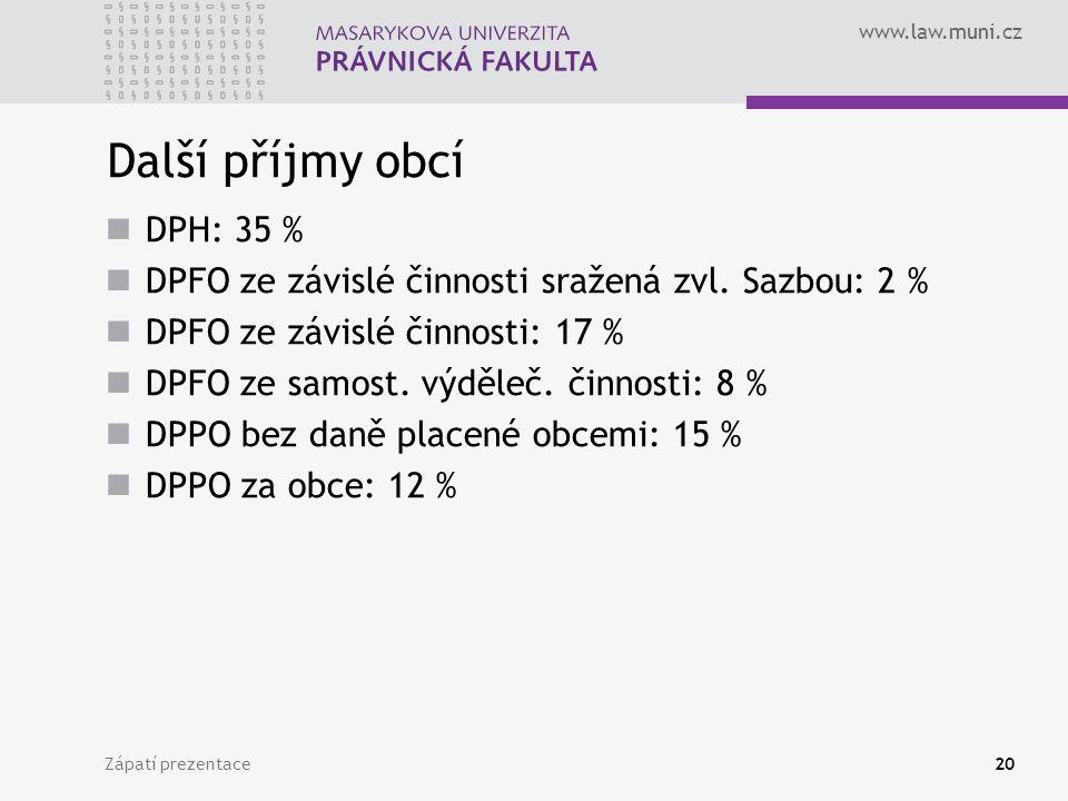 www.law.muni.cz Zápatí prezentace20 Další příjmy obcí DPH: 35 % DPFO ze závislé činnosti sražená zvl. Sazbou: 2 % DPFO ze závislé činnosti: 17 % DPFO