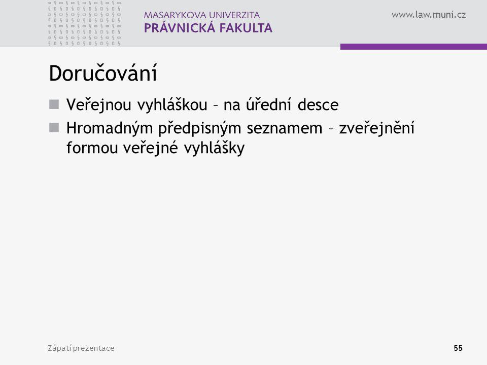 www.law.muni.cz Zápatí prezentace55 Doručování Veřejnou vyhláškou – na úřední desce Hromadným předpisným seznamem – zveřejnění formou veřejné vyhlášky