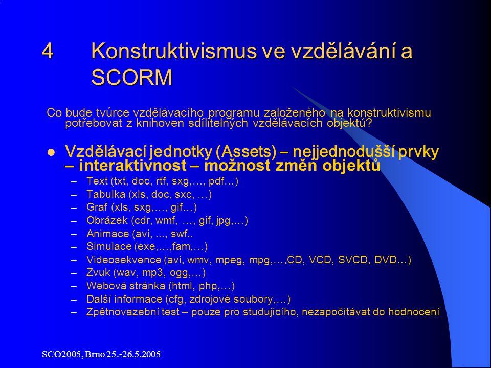 SCO2005, Brno 25.-26.5.2005 4 Konstruktivismus ve vzdělávání a SCORM Co bude tvůrce vzdělávacího programu založeného na konstruktivismu potřebovat z knihoven sdílitelných vzdělávacích objektů.