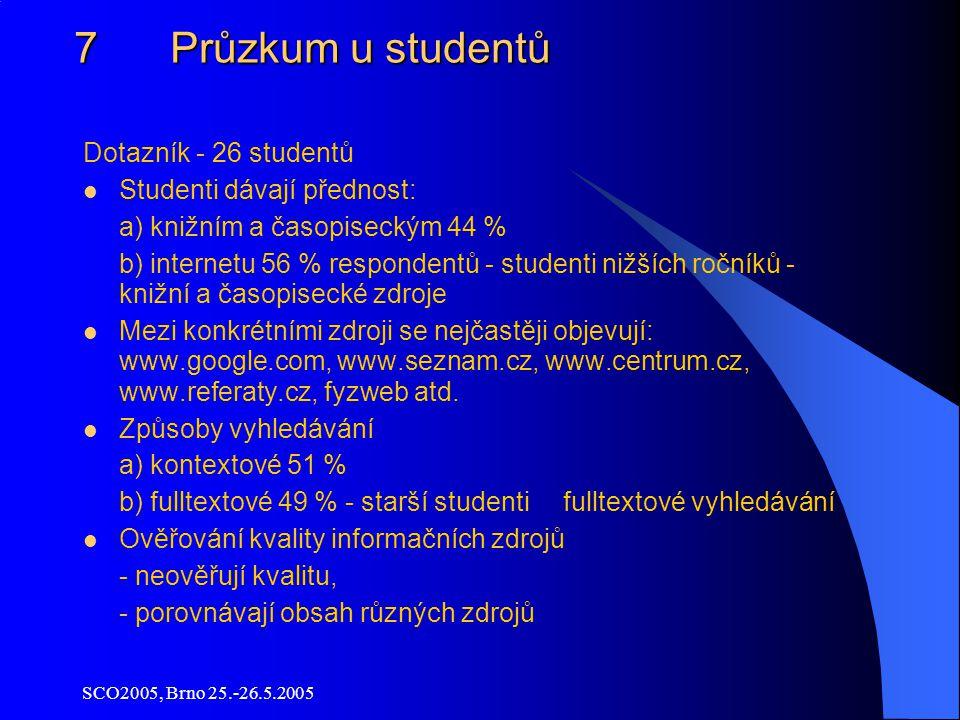 SCO2005, Brno 25.-26.5.2005 7 Průzkum u studentů Dotazník - 26 studentů Studenti dávají přednost: a) knižním a časopiseckým 44 % b) internetu 56 % respondentů - studenti nižších ročníků - knižní a časopisecké zdroje Mezi konkrétními zdroji se nejčastěji objevují: www.google.com, www.seznam.cz, www.centrum.cz, www.referaty.cz, fyzweb atd.