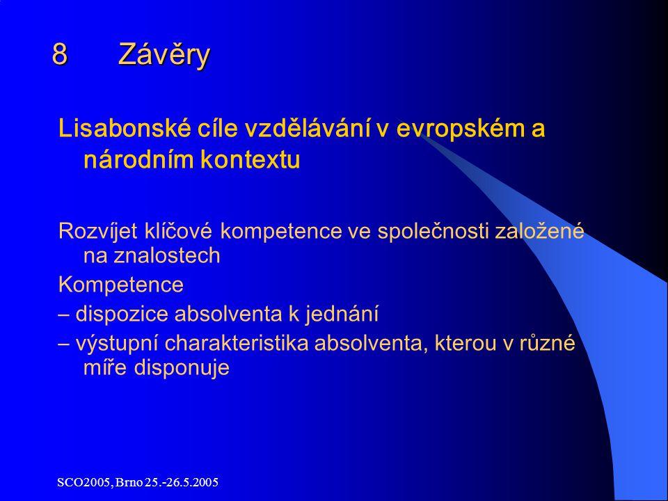 SCO2005, Brno 25.-26.5.2005 8 Závěry Lisabonské cíle vzdělávání v evropském a národním kontextu Rozvíjet klíčové kompetence ve společnosti založené na znalostech Kompetence – dispozice absolventa k jednání – výstupní charakteristika absolventa, kterou v různé míře disponuje