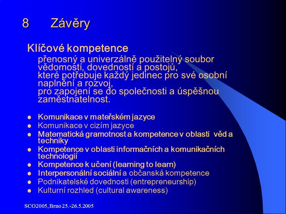 SCO2005, Brno 25.-26.5.2005 8 Závěry Klíčové kompetence přenosný a univerzálně použitelný soubor vědomostí, dovedností a postojů, které potřebuje každý jedinec pro své osobní naplnění a rozvoj, pro zapojení se do společnosti a úspěšnou zaměstnatelnost.