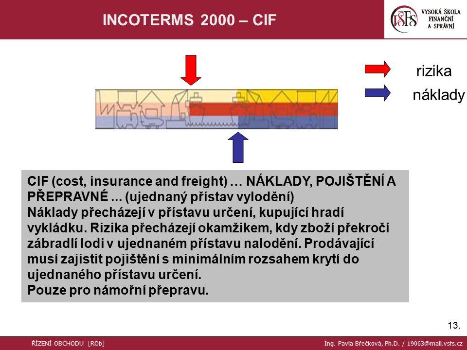 13. INCOTERMS 2000 – CIF CIF (cost, insurance and freight) … NÁKLADY, POJIŠTĚNÍ A PŘEPRAVNÉ...