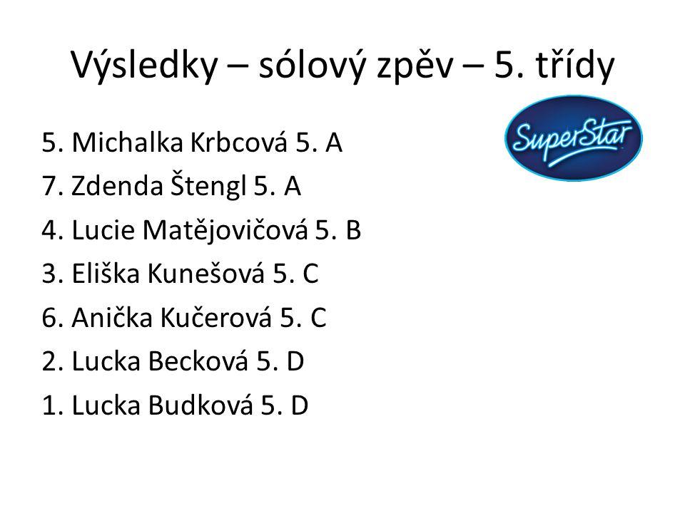 Výsledky – sólový zpěv – 5. třídy 5. Michalka Krbcová 5. A 7. Zdenda Štengl 5. A 4. Lucie Matějovičová 5. B 3. Eliška Kunešová 5. C 6. Anička Kučerová