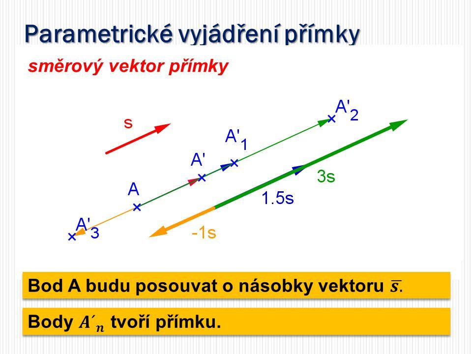 Parametrické vyjádření přímky směrový vektor přímky