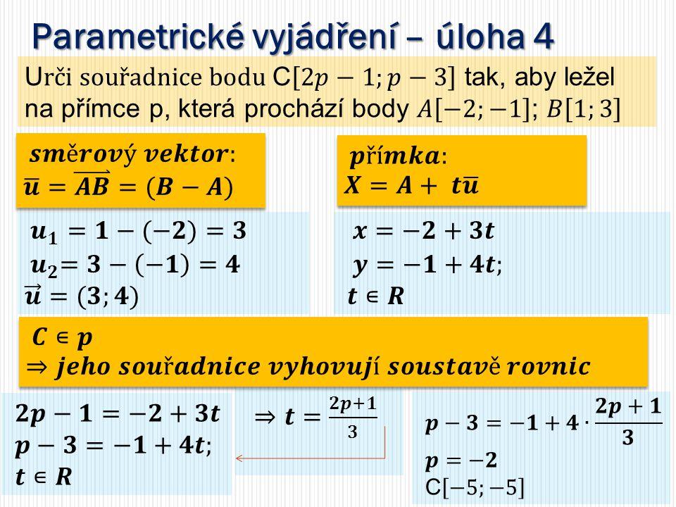 Parametrické vyjádření – úloha 4