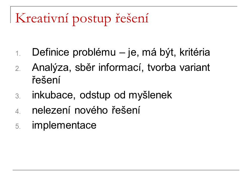 Kreativní postup řešení 1. Definice problému – je, má být, kritéria 2. Analýza, sběr informací, tvorba variant řešení 3. inkubace, odstup od myšlenek