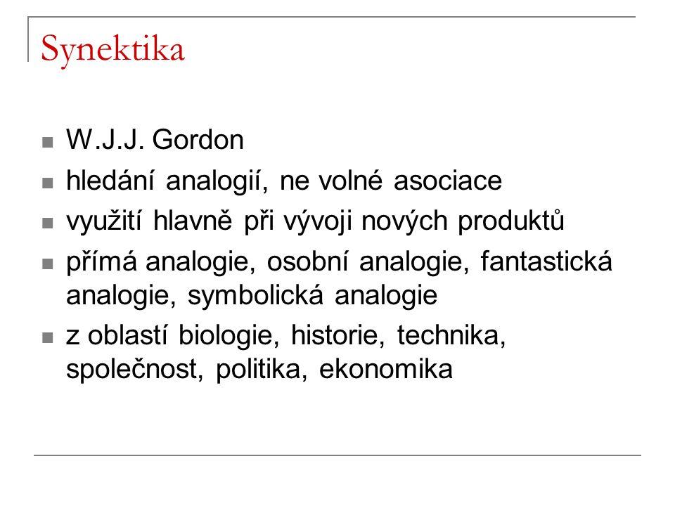 Synektika W.J.J. Gordon hledání analogií, ne volné asociace využití hlavně při vývoji nových produktů přímá analogie, osobní analogie, fantastická ana
