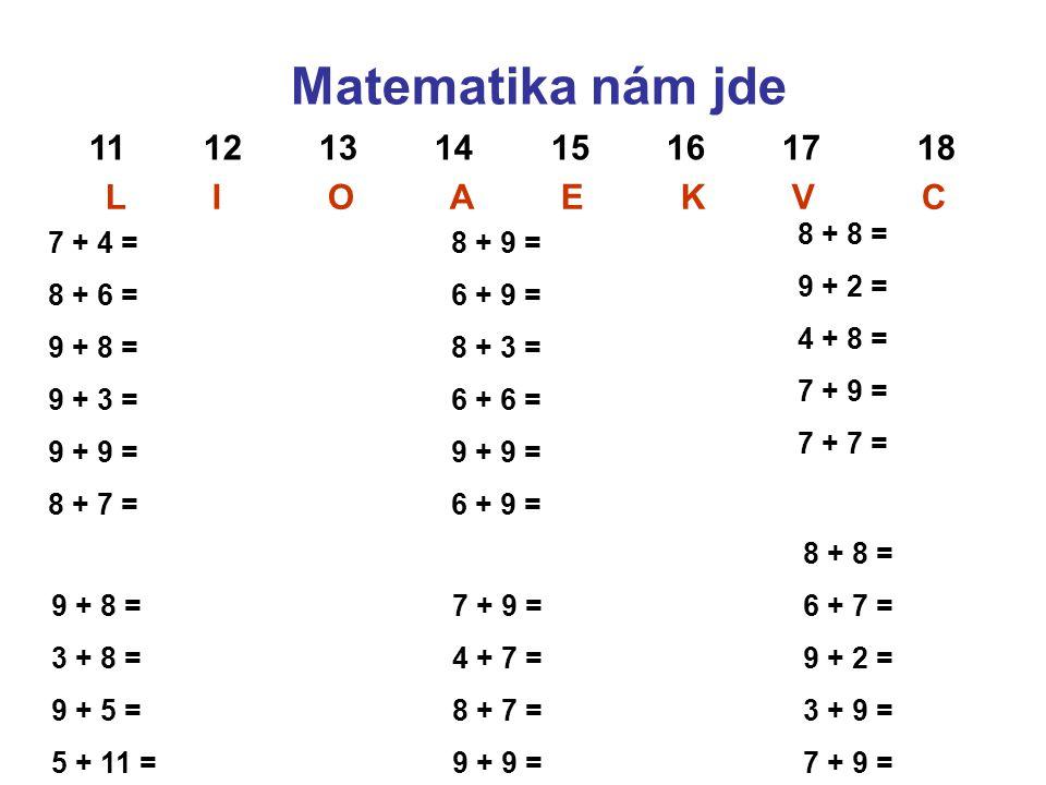 Matematika nám jde 11 12 13 14 15 16 17 18 L I O A E K V C 7 + 4 = 8 + 6 = 9 + 8 = 9 + 3 = 9 + 9 = 8 + 7 = 9 + 8 = 3 + 8 = 9 + 5 = 5 + 11 = 8 + 9 = 6 + 9 = 8 + 3 = 6 + 6 = 9 + 9 = 6 + 9 = 8 + 8 = 9 + 2 = 4 + 8 = 7 + 9 = 7 + 7 = 7 + 9 = 4 + 7 = 8 + 7 = 9 + 9 = 8 + 8 = 6 + 7 = 9 + 2 = 3 + 9 = 7 + 9 =