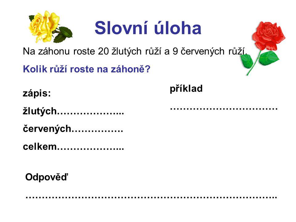 Slovní úloha- kontrola: zápis: žlutých……..20….červených…9…..