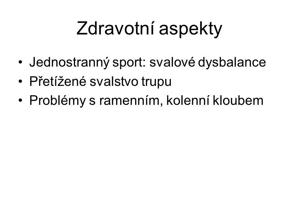 Zdravotní aspekty Jednostranný sport: svalové dysbalance Přetížené svalstvo trupu Problémy s ramenním, kolenní kloubem