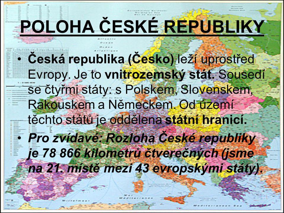 POLOHA ČESKÉ REPUBLIKY Česká republika (Česko) leží uprostřed Evropy.