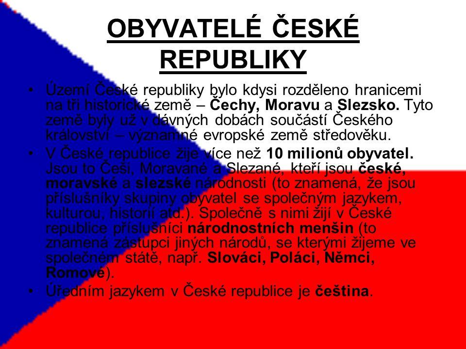 OBYVATELÉ ČESKÉ REPUBLIKY Území České republiky bylo kdysi rozděleno hranicemi na tři historické země – Čechy, Moravu a Slezsko.